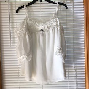 White off the shoulder chiffon fringe top